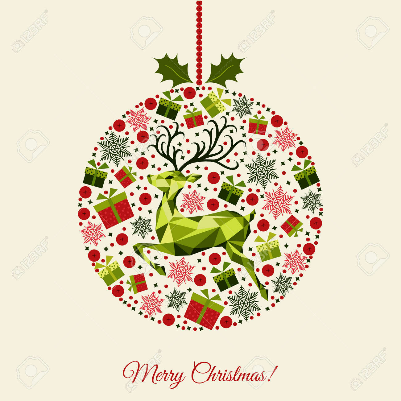 Bola De Navidad Con Dibujos Feliz Ano Nuevo Fondo Renos De Navidad