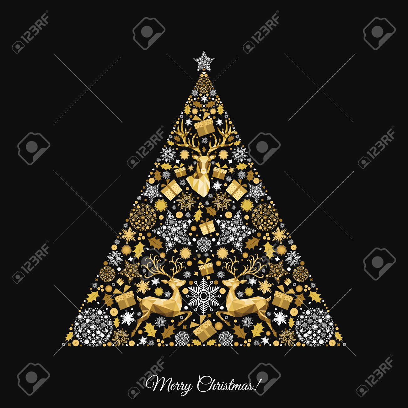 Christmas Tree Gold Pattern Golden White Decoration Happy New Year Black Background
