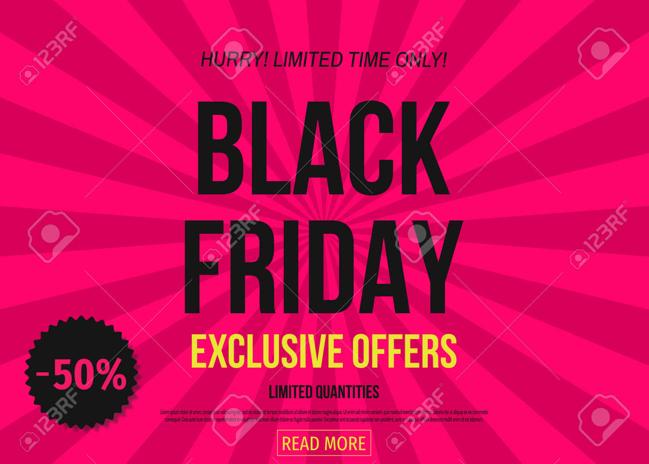 black friday sale poster template on pink background limited