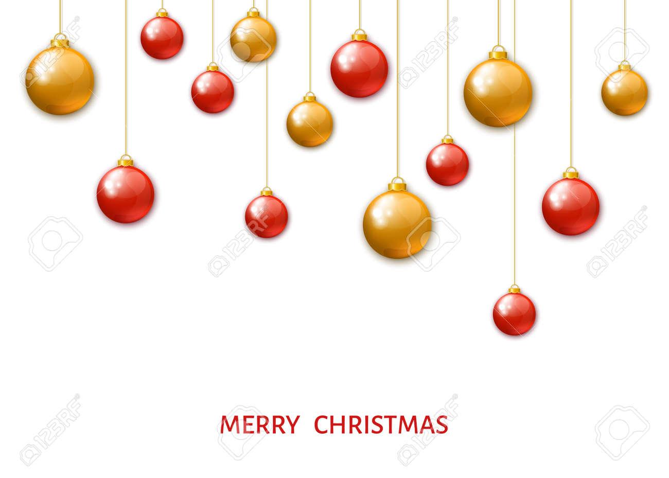 Immagini Natalizie Vettoriali.Colore Rosso E Sfere D Attaccatura Di Natale Dell Oro Isolate Su Priorita Bassa Bianca Palline Di Natale Realistiche Decorazioni Natalizie