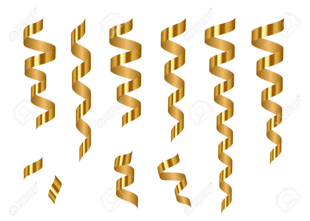 gold shiny serpentine ribbons isolated on transparent background decoration for carnival fiesta birthday