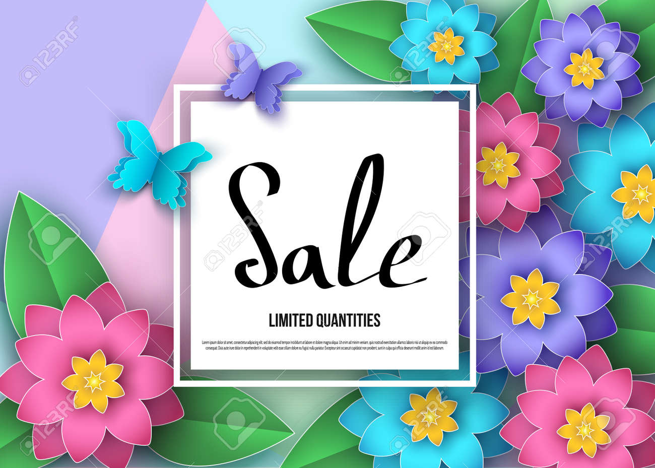 Spring Or Summer Sale Banner With Flowers Leaves And Butterflies