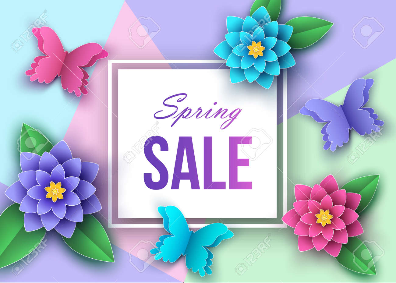 Spring Or Summer Season Sale Banner With Beautiful Flowers Leaves