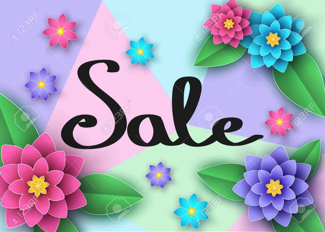 Spring Or Summer Season Sale Banner With Beautiful Flowers