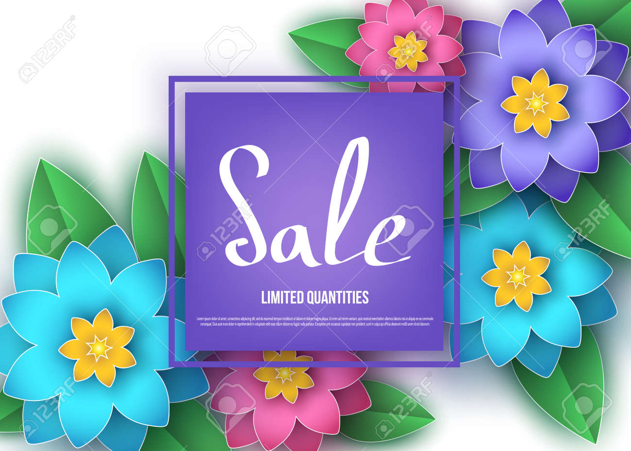 Spring Or Summer Season Sale Banner With Colorful Flowers Royalty