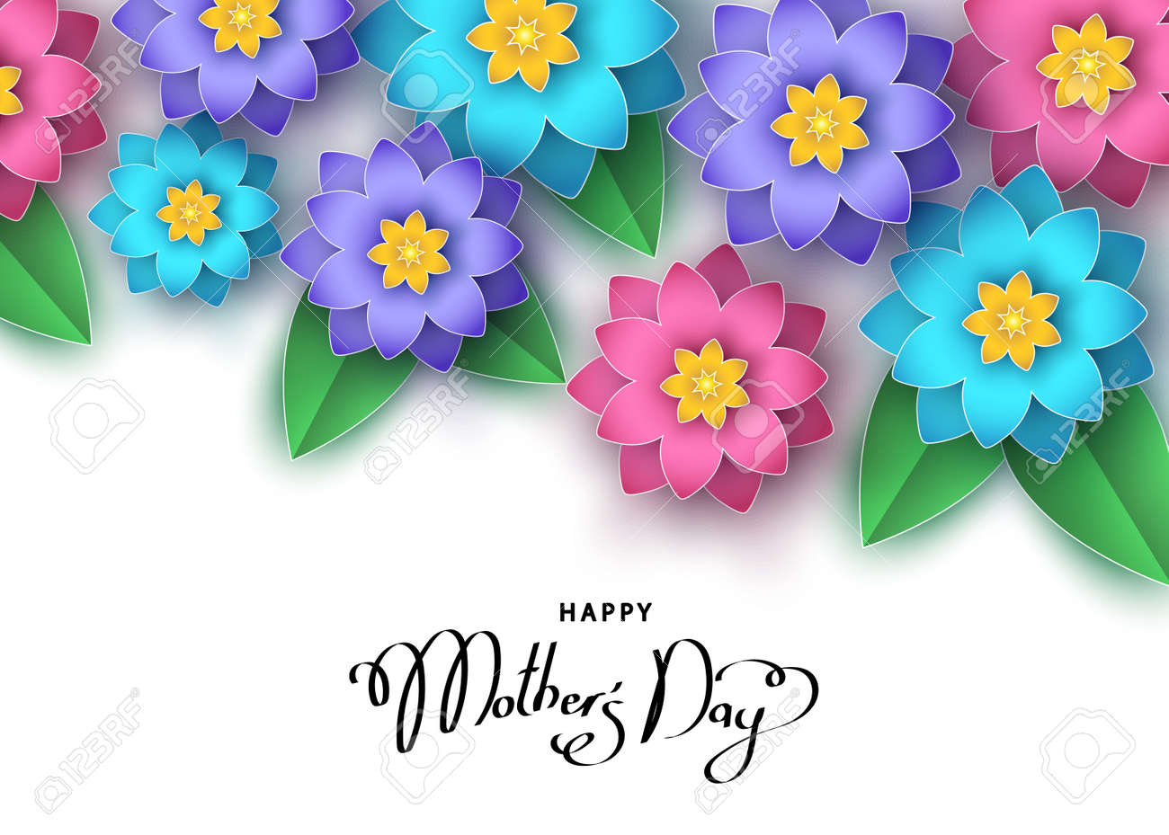 Happy Mothers Day Banner Template With Abstract Paper Cut Flowers