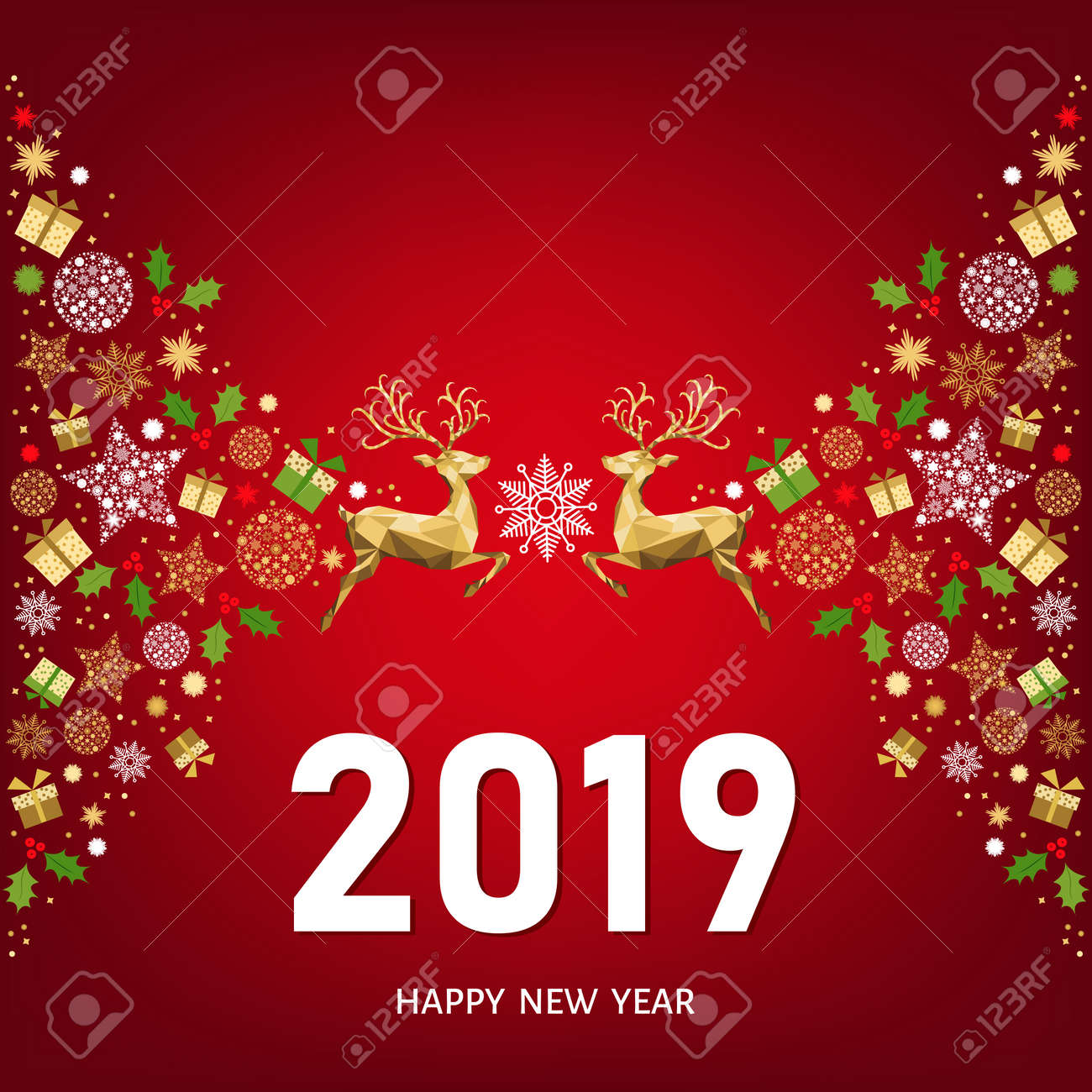 2019 happy new year greeting card on red background with golden christmas pattern with xmas deer