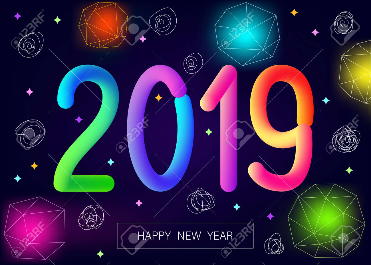 2019 new year greeting card on dark purple background with colorful neon flash and number