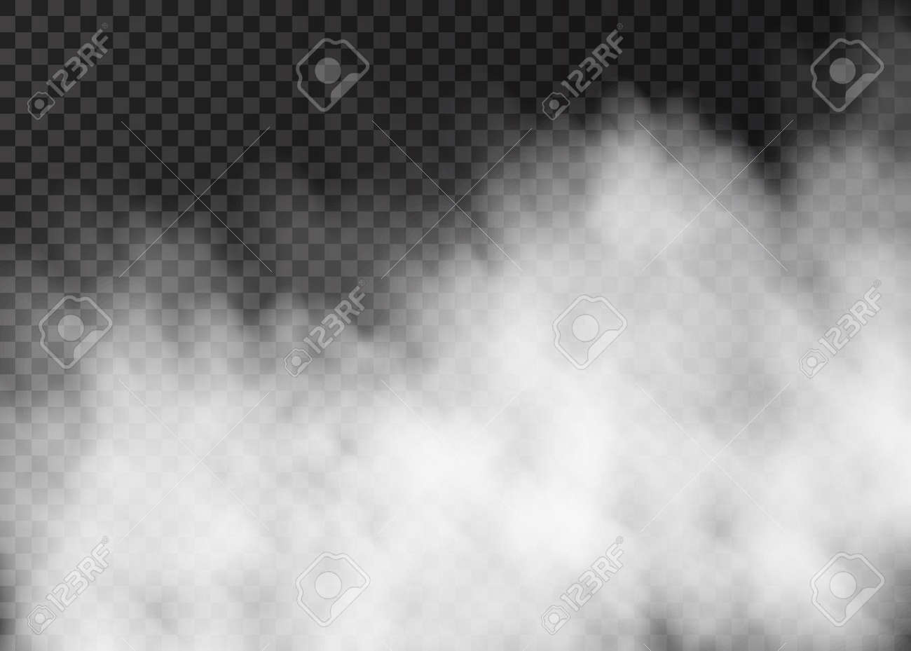 White smoke isolated on transparent background. Steam special effect. Realistic vector fire fog or mist texture. - 120490638