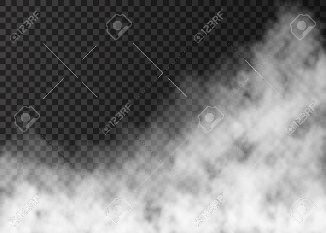 White smoke isolated on transparent background. Steam special effect. Realistic vector fire fog or mist texture. - 120490639