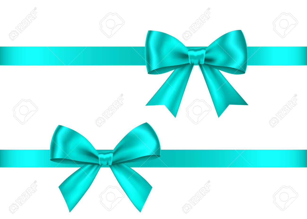 Blue gift bows set isolated on white background. Christmas, New Year, birthday decoration. Vector realistic decor element for banner, greeting card, poster. - 120490678