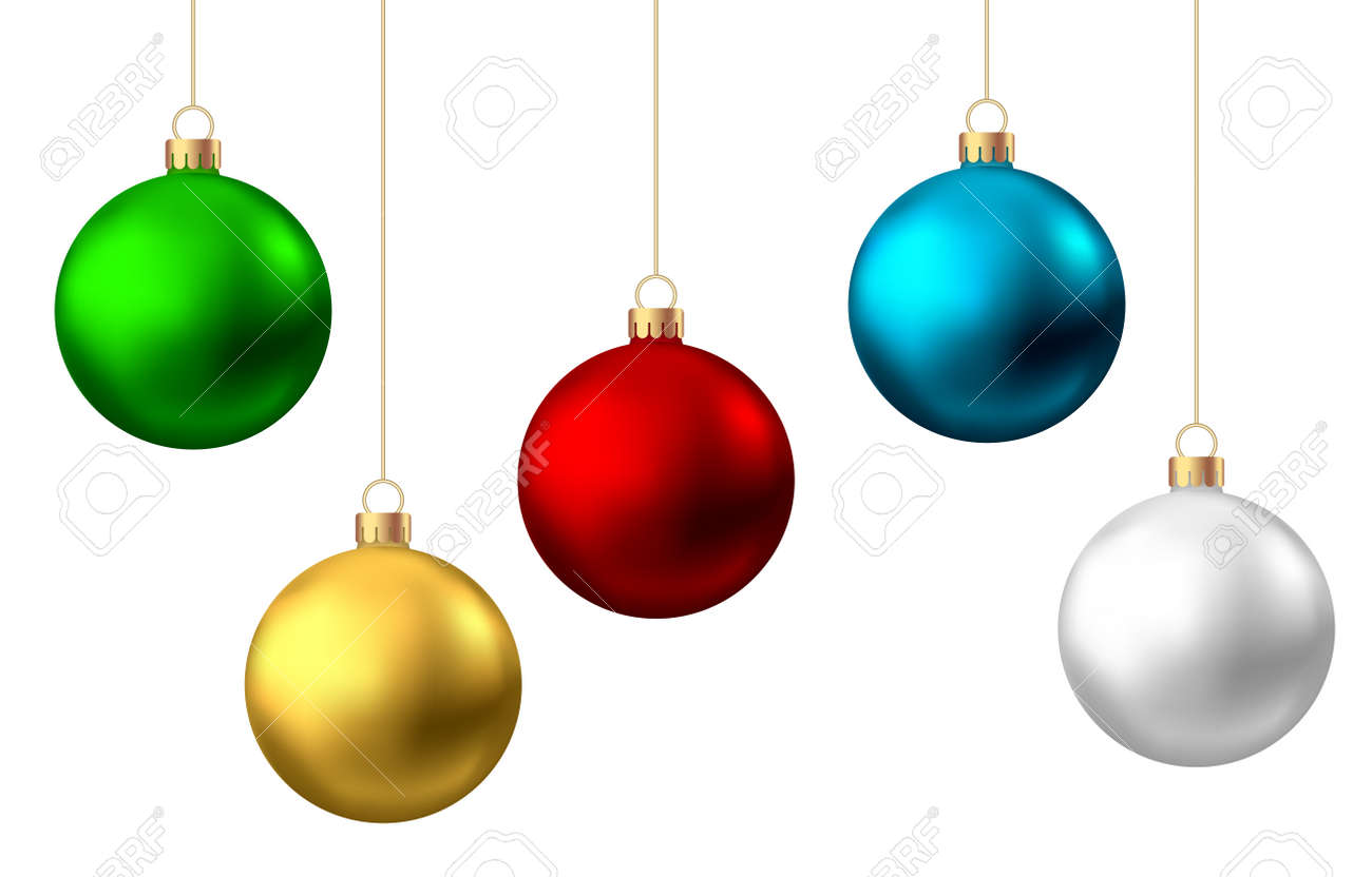 Realistic red, gold, green, blue, silver Christmas balls isolated on white background. Vector Xmas tree decoration. - 135771109
