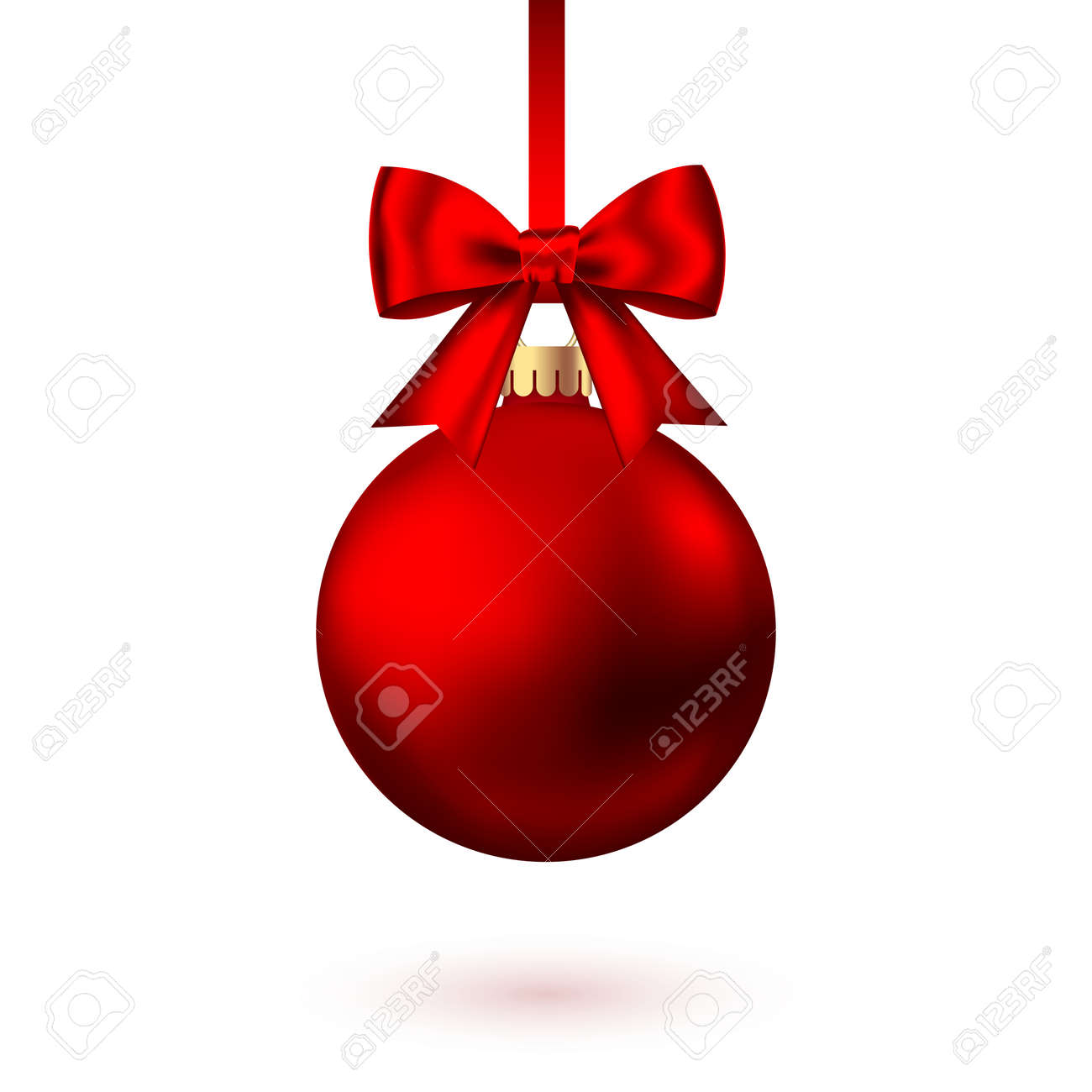 Realistic red Christmas ball with bow and ribbon isolated on white background. Vector Xmas tree decoration. - 135771136