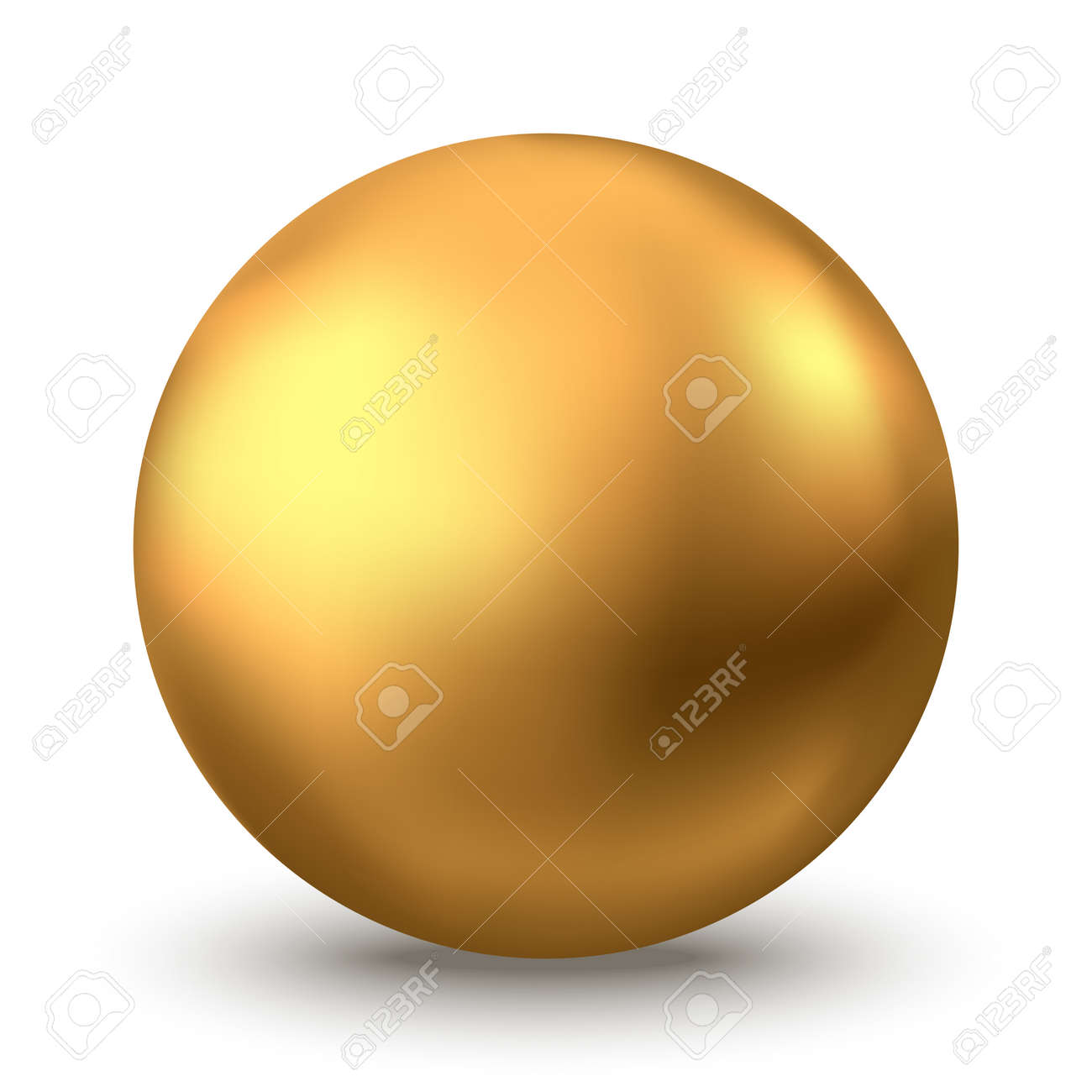 Gold sphere. Oil bubble isolated on white background. Golden glossy 3d ball or precious pearl. Yellow serum or collagen drops. Vector decoration element for skincare cosmetic package. - 135771195