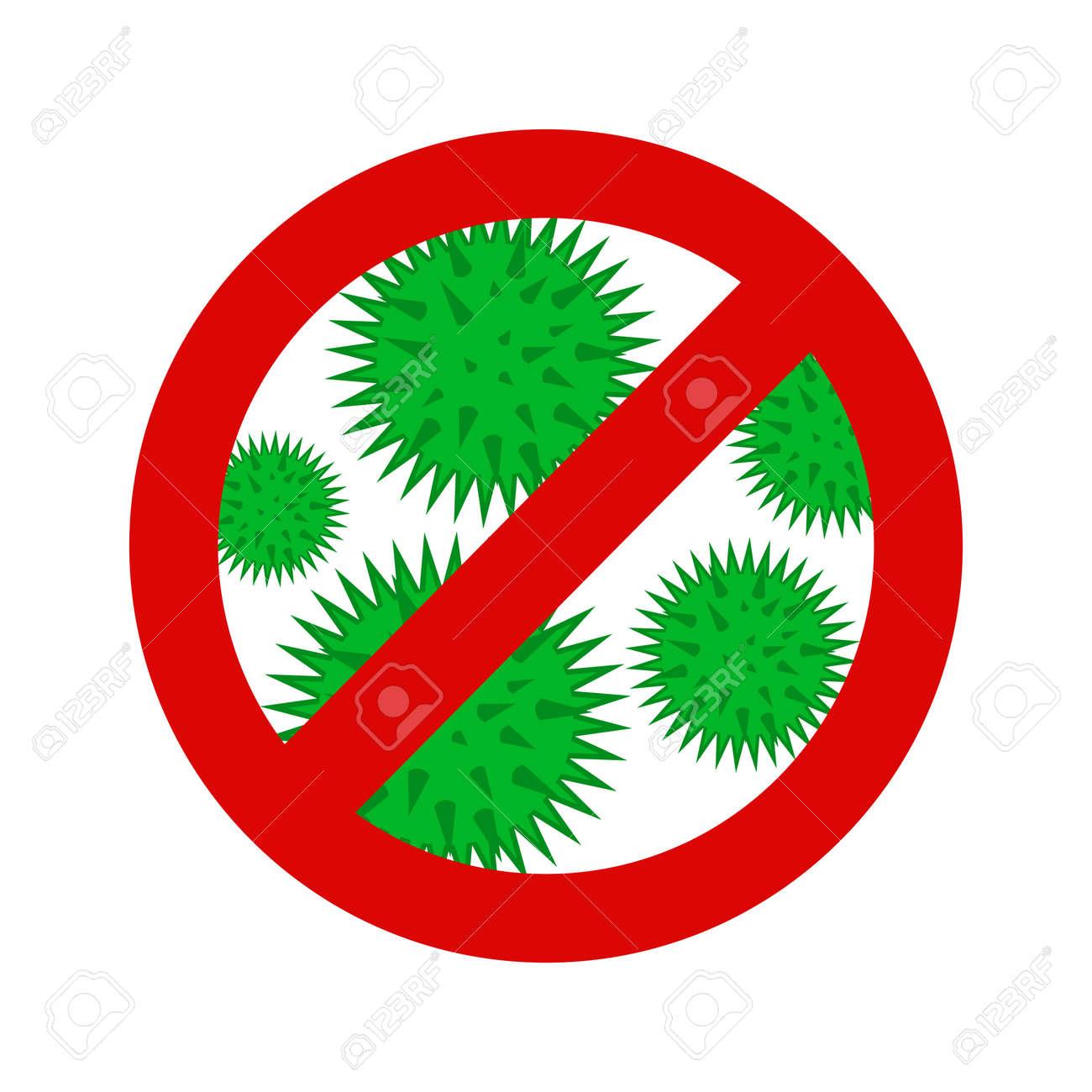 novel respiratory coronavirus 2019 and red stop Cov prohibition sign. Caution 2019-nCoV virus. COVID-2019 disease outbreak. Prevent dangerous pandemic. Antiviral vaccine icon. warning emblem illustration. - 144801559