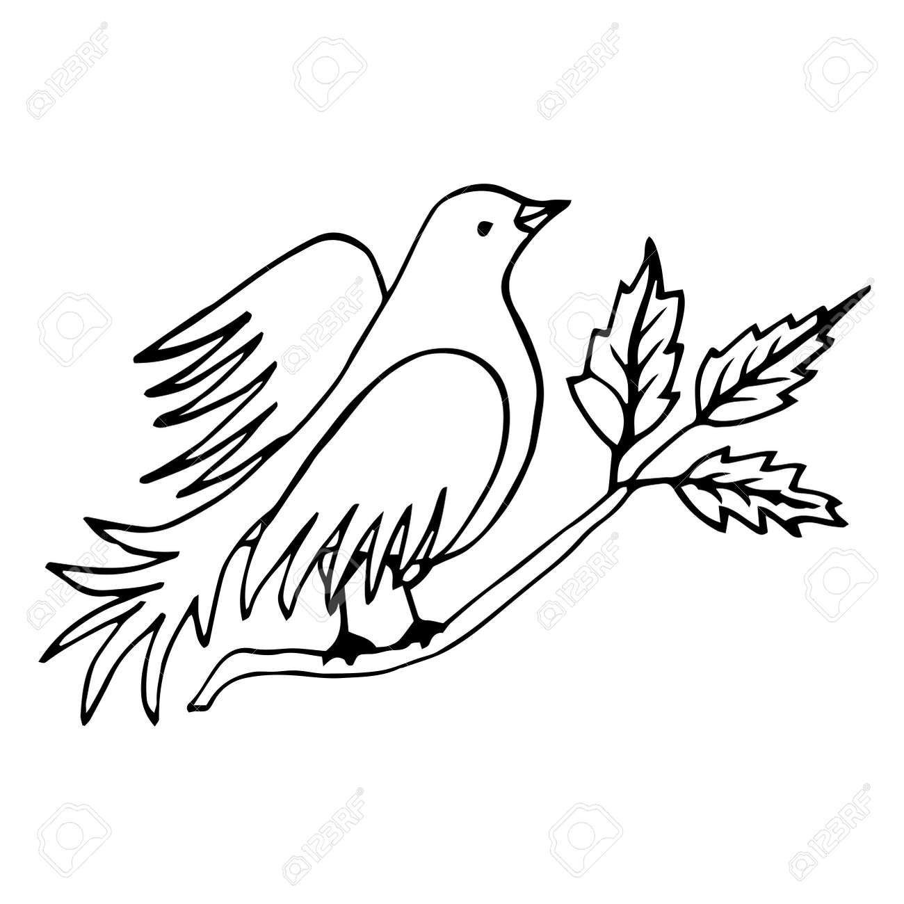 Vector Line Drawing Bird Sitting At Tree Branch With Leaves Royalty Free Cliparts Vectors And Stock Illustration Image 135964855
