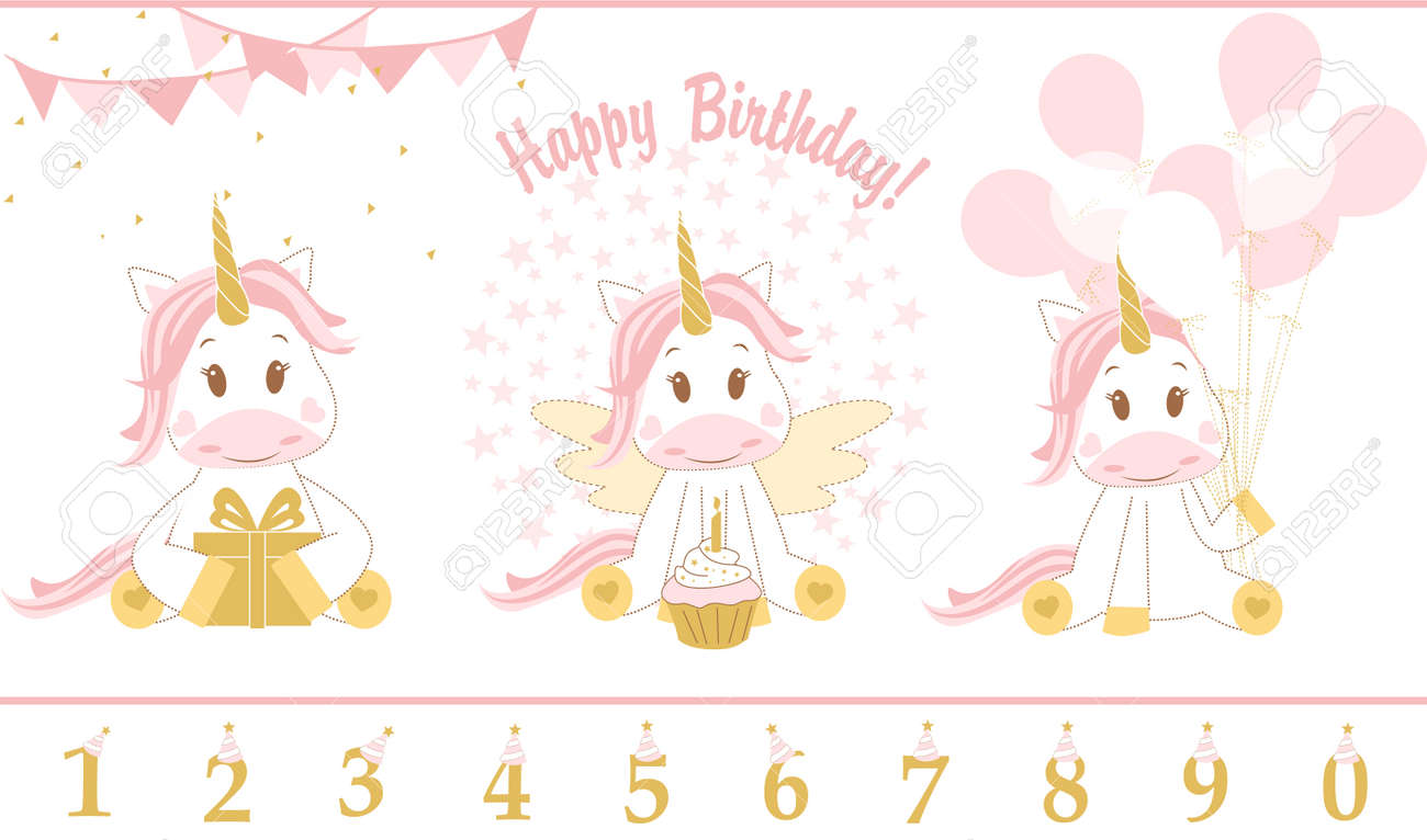 Cute Baby Unicorn Vector Illustration Happy Birthday Card With Icon Stock