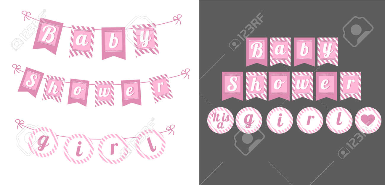 Printable Template Flags Banner Baby Shower Party It S A Girl