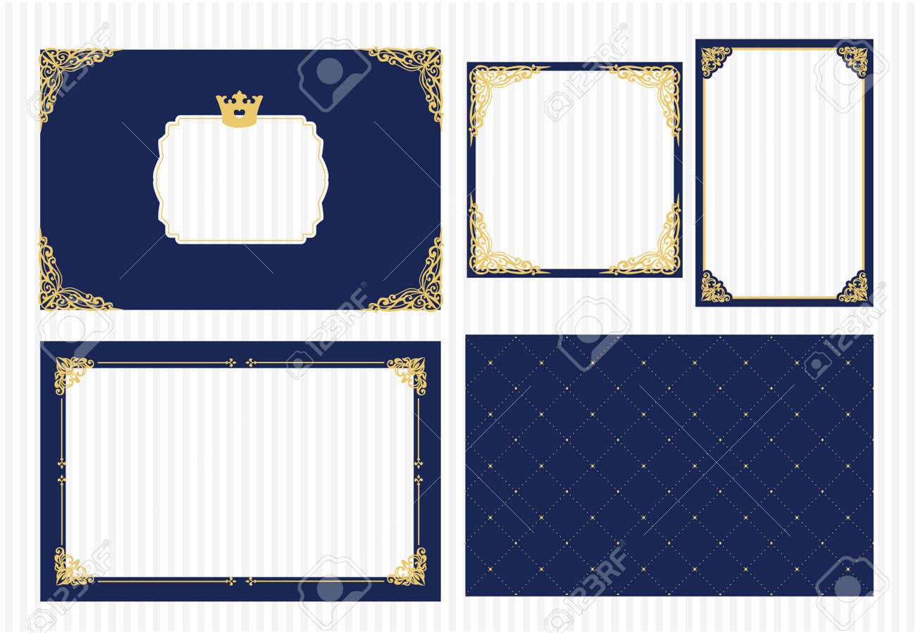 Set Of Vector Picture Frame Dark Navy Blue With Gold Decorative