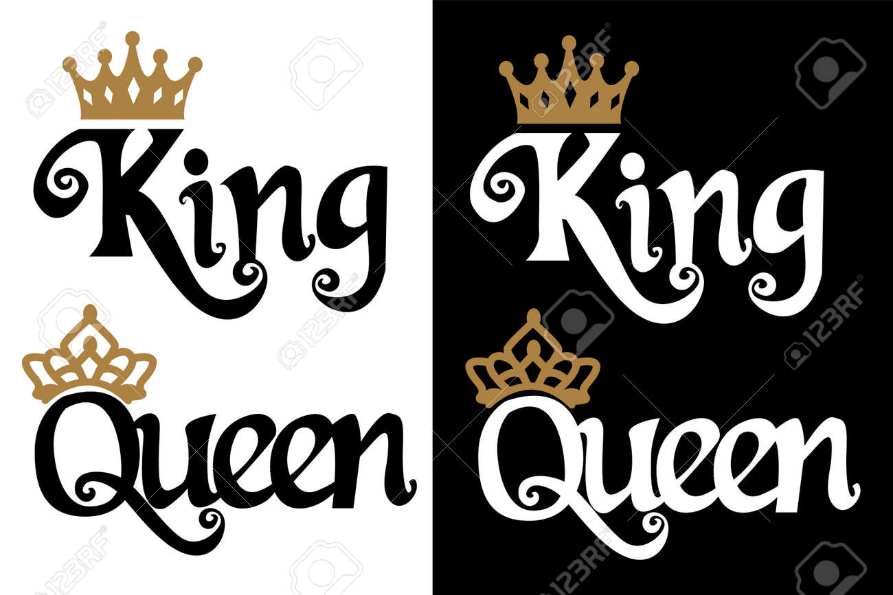 King And Queen Couple Design Black Text And Gold Crown Isolated Royalty Free Cliparts Vectors And Stock Illustration Image 111063255