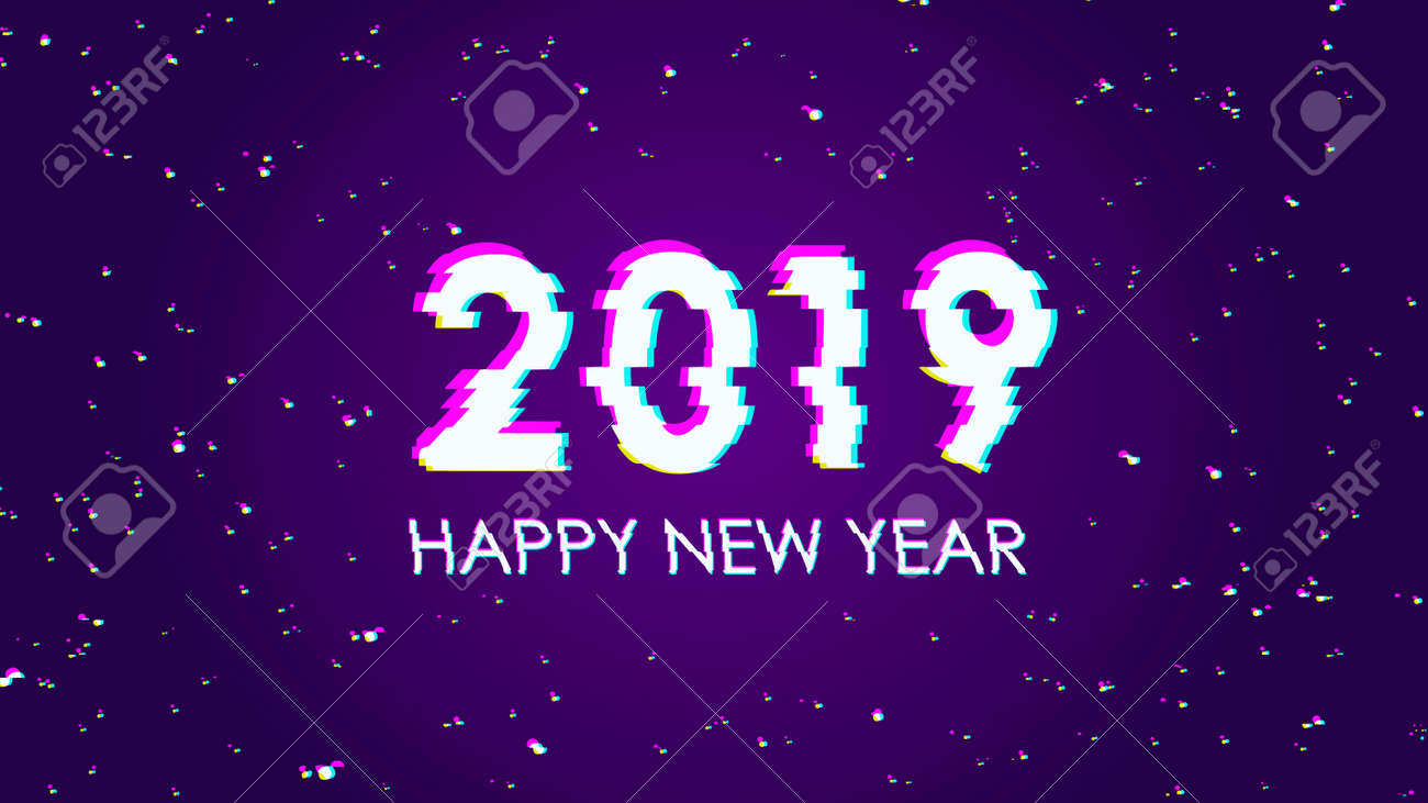 Trendy glitch effect  2019 Happy New Year  Greeting card modern