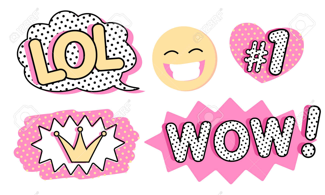 Set of cute vector stickers bubble for text princess crown wow lol icons and laughing emoji pink color with black doodle and dots pop art doll style