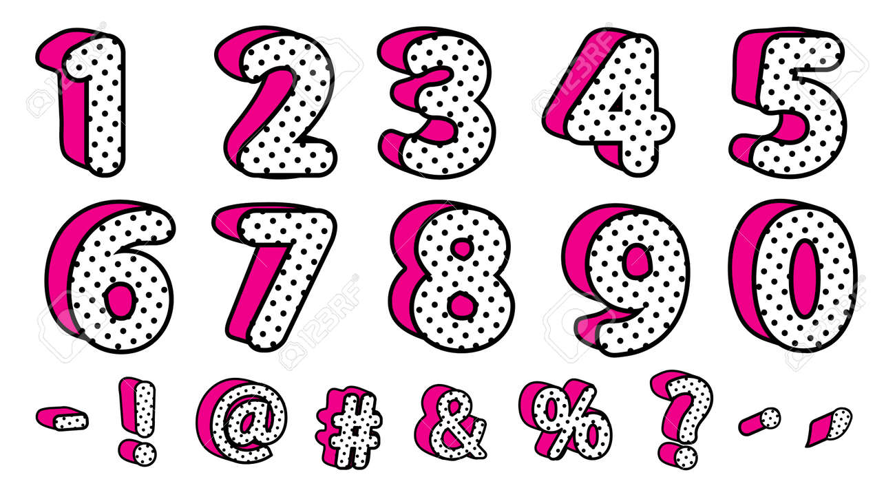 Cute black polka dots 3D set of numbers and signs  Vector LOL