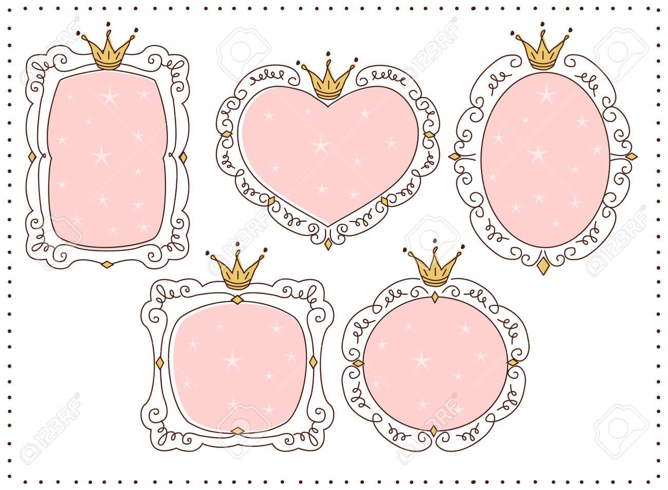 Set Of Cute Doodle Mirrors Princess Vector Element Of Design