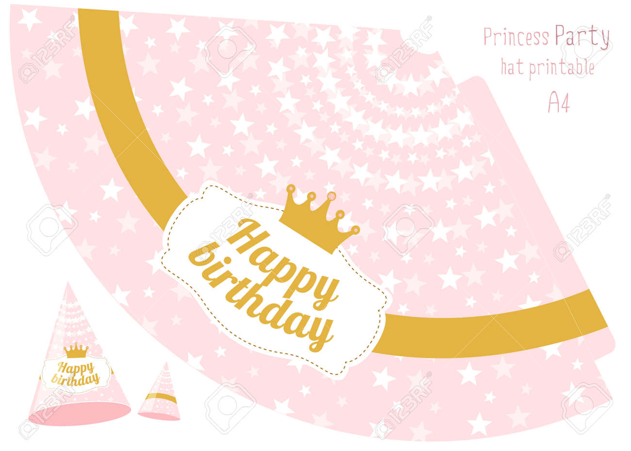 image about Printable Hats named Celebration hats v printable. Crimson and gold princess social gathering. Print and..