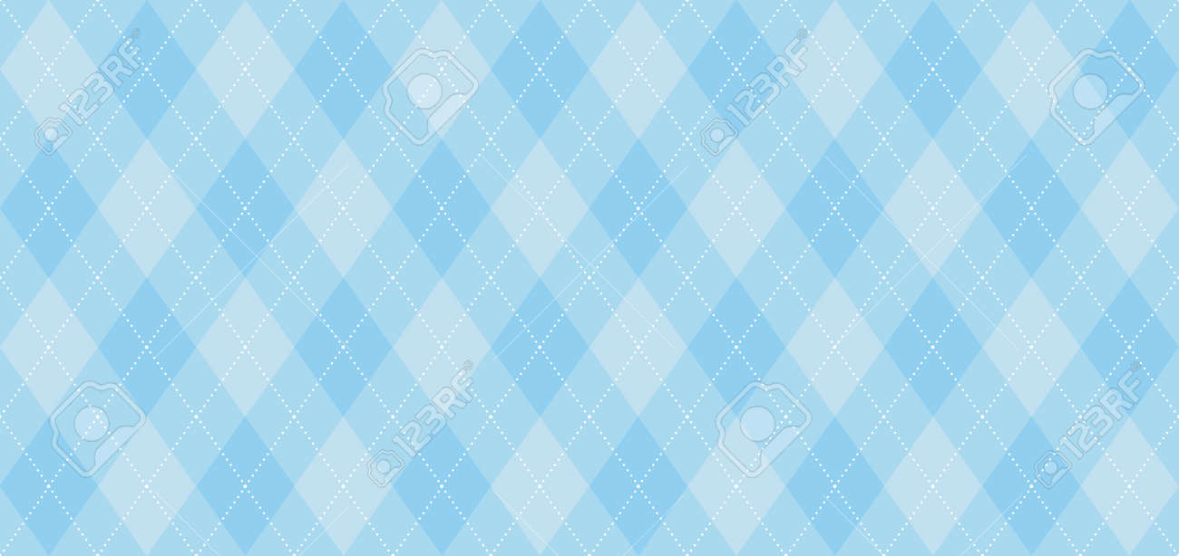Argyle vector pattern. Light blue with thin white dotted line. Seamless geometric background, textile, men's clothing, wrapping paper. Backdrop for Little Man (baby boy) party invite card - 117102408