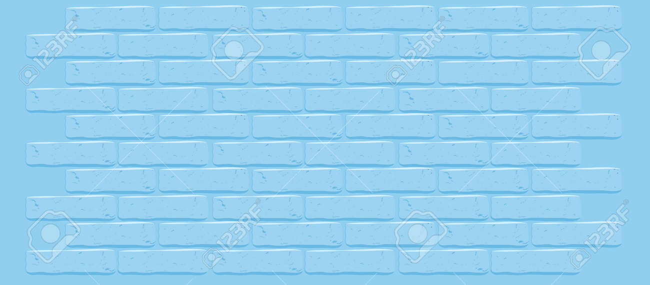 Blue Brick Wall Vector Texture Cracked Empty Background Grunge