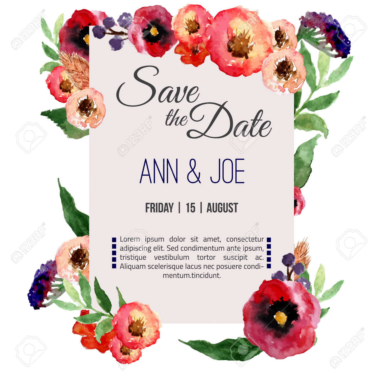 vector vector watercolor template save the date with floral frame leaves artistic vector design for banners greeting cardssales posters