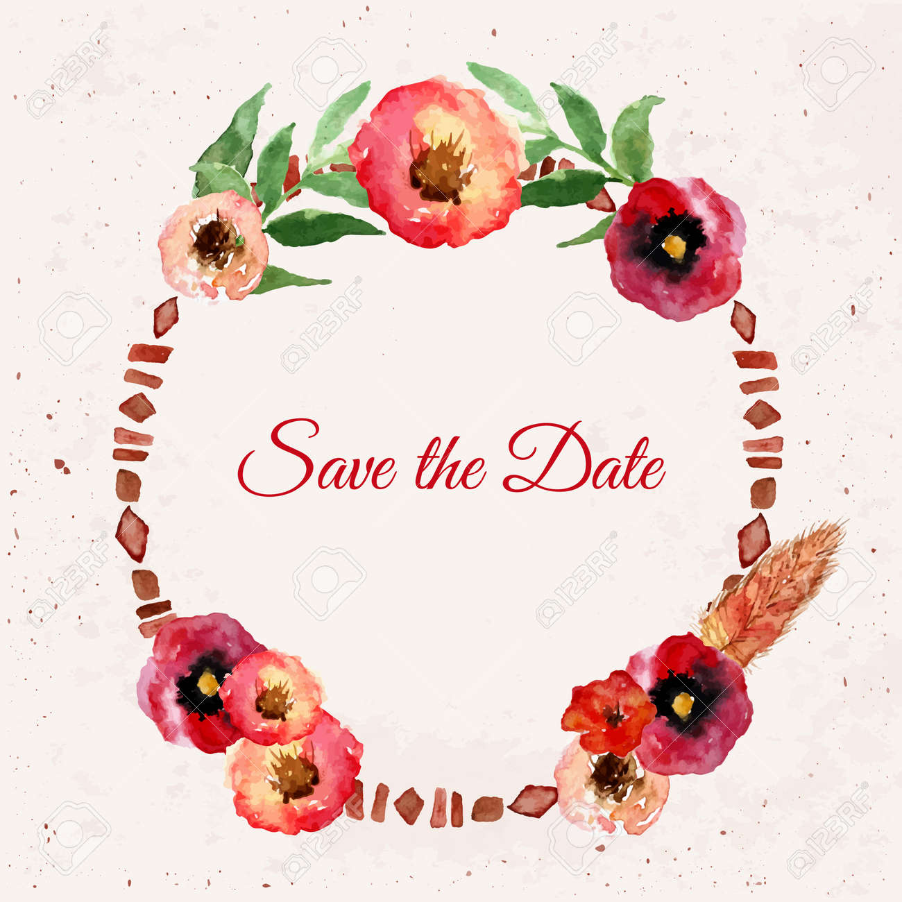 Vector watercolor save the date floral wreath with vintage leaves greeting cardssales posters eps10 vector watercolor save the date floral wreath with vintage leaves and flowers artistic vector design kristyandbryce Images