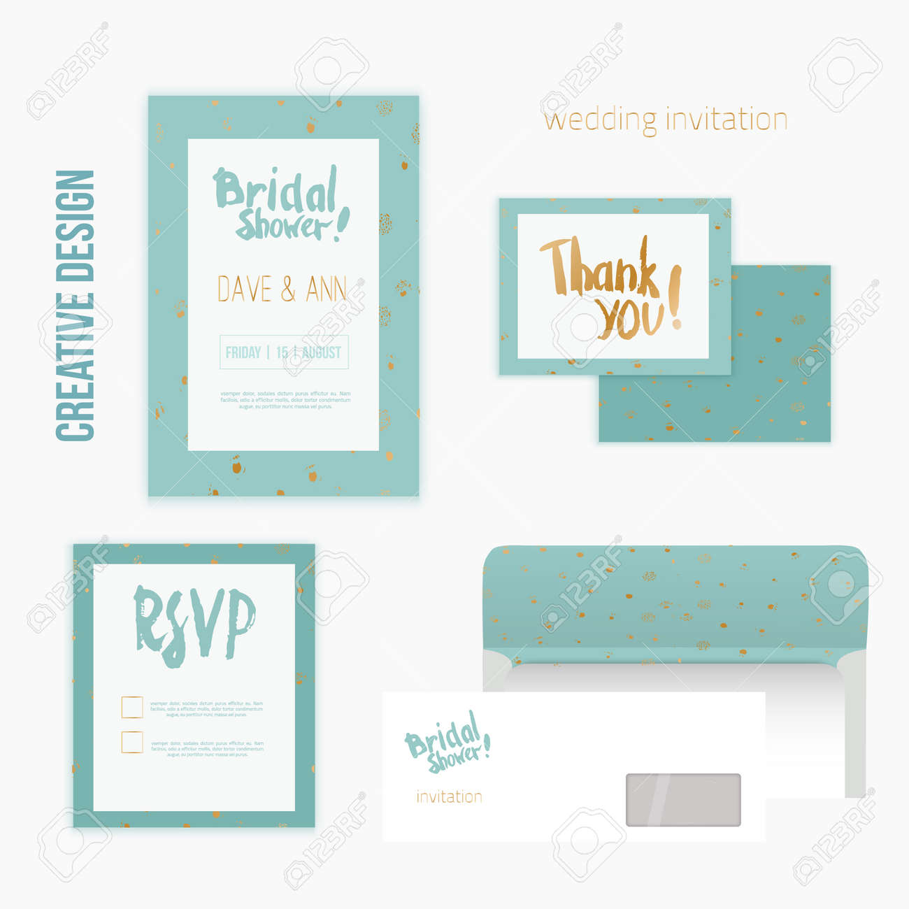 Set Of Wedding Invitation Cards With Thank You Card, RSVP Card ...
