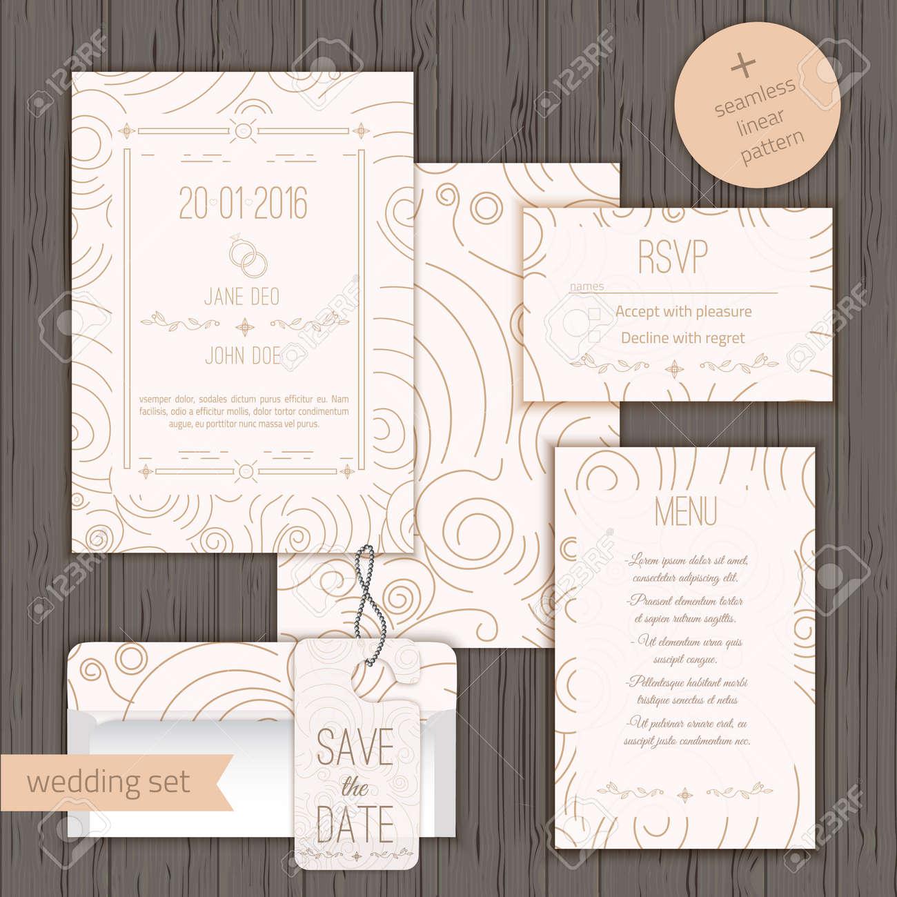 Modern Linear Wedding Invitation Card Design Set Include