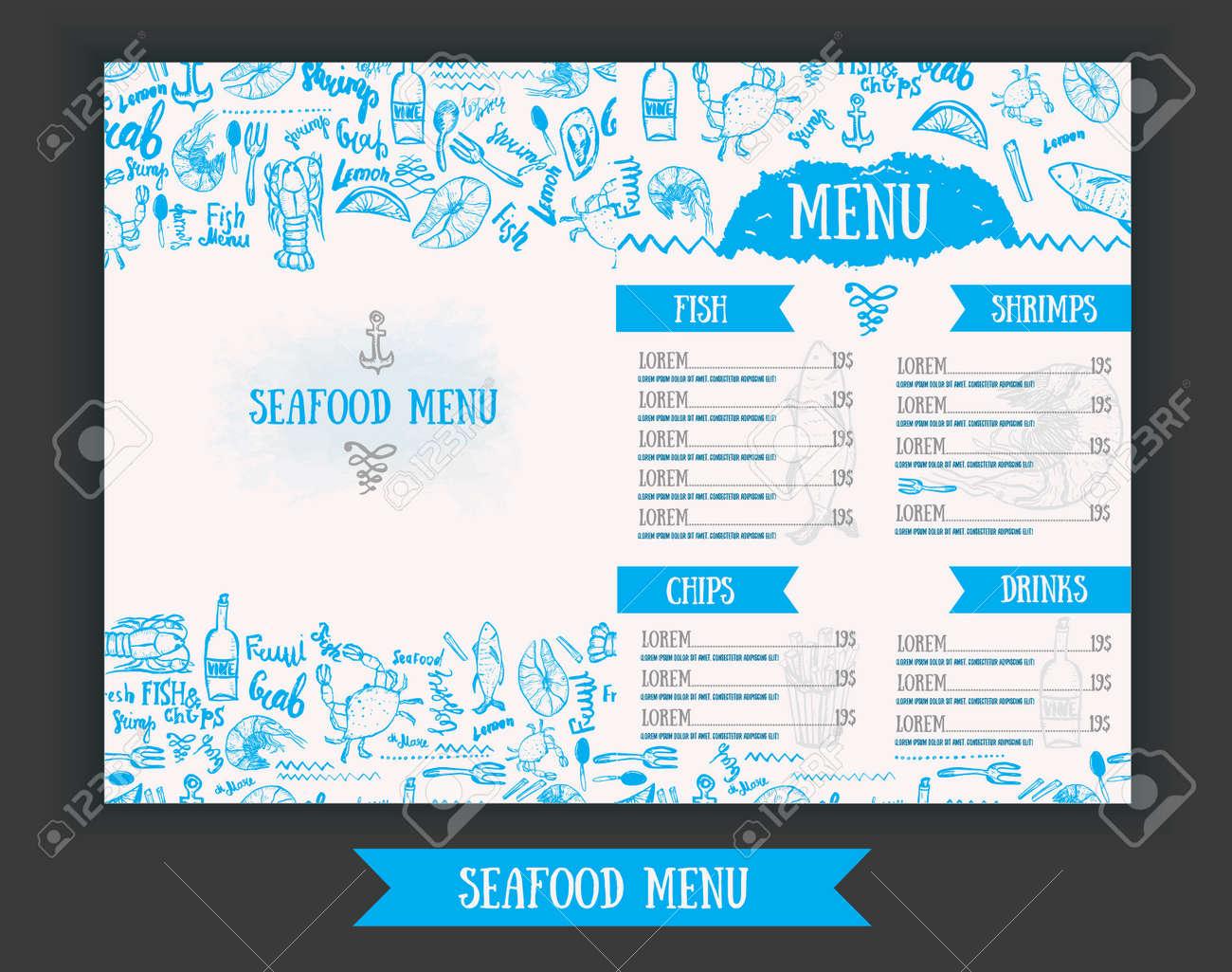 vector modern seafood menu design. hand drawn seafood menu. great