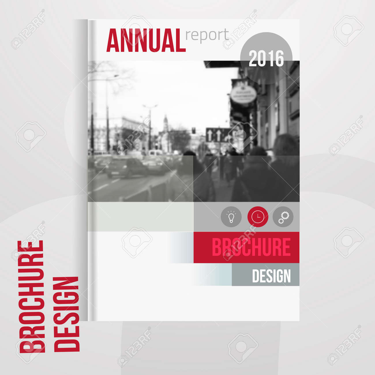 Vector brochure cover template with blured city landscape. Business brochure cover design, flyer brochure cover, professional corporate brochure cover. - 54714568