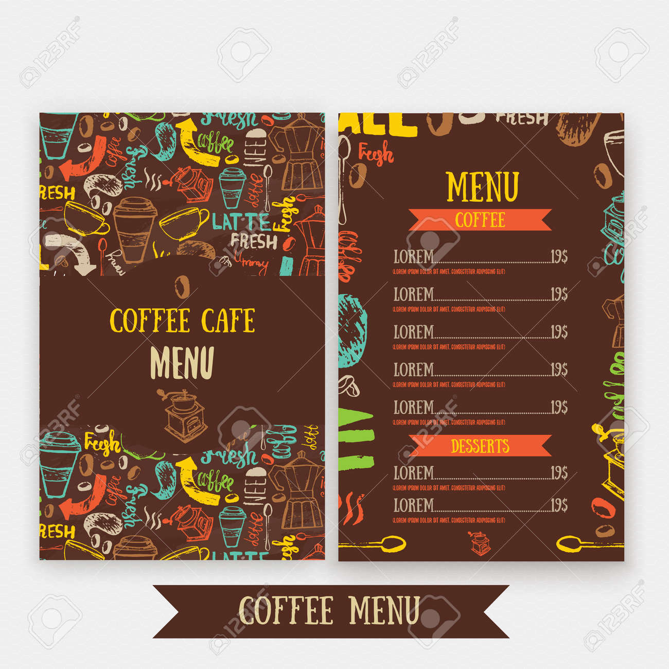 cafe menu template design with lettering for coffee shop hand