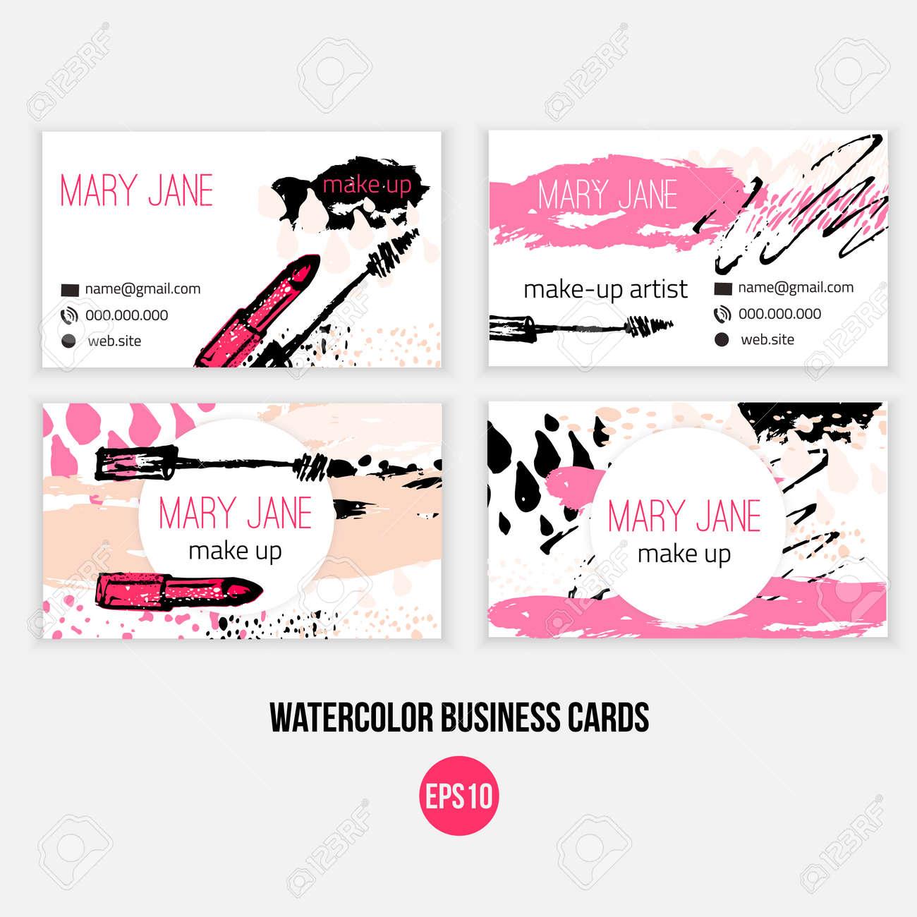 Make Up Modle De Carte Visite Maquillage Avec Pinceau N