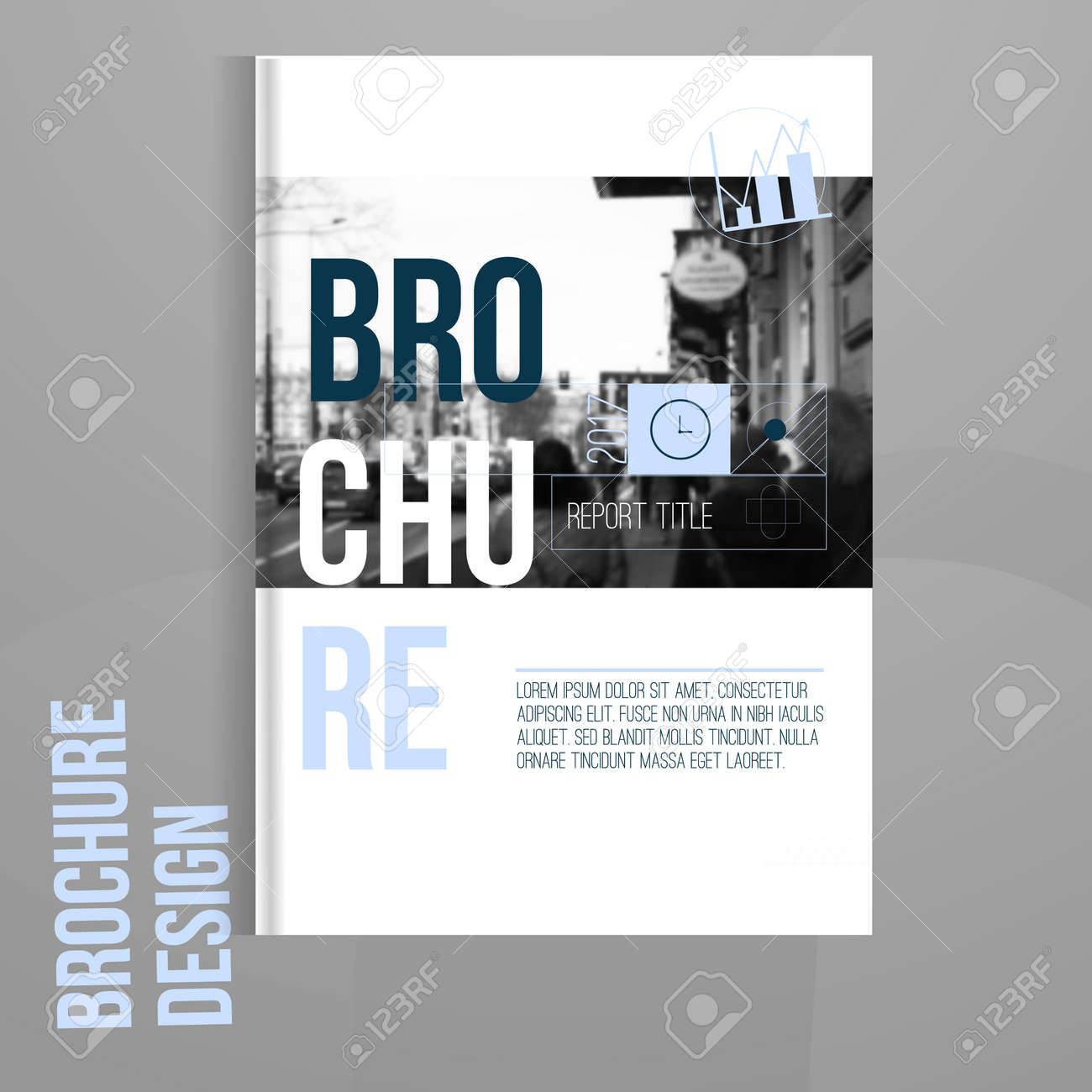 Vector Brochure Cover Template With Blured City Landscape. Business ...