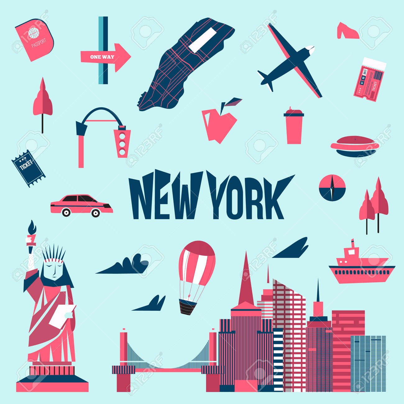 Cartoon Map Of New York City.New York City Icons In Cartoon Style Statue Of Liberty Map