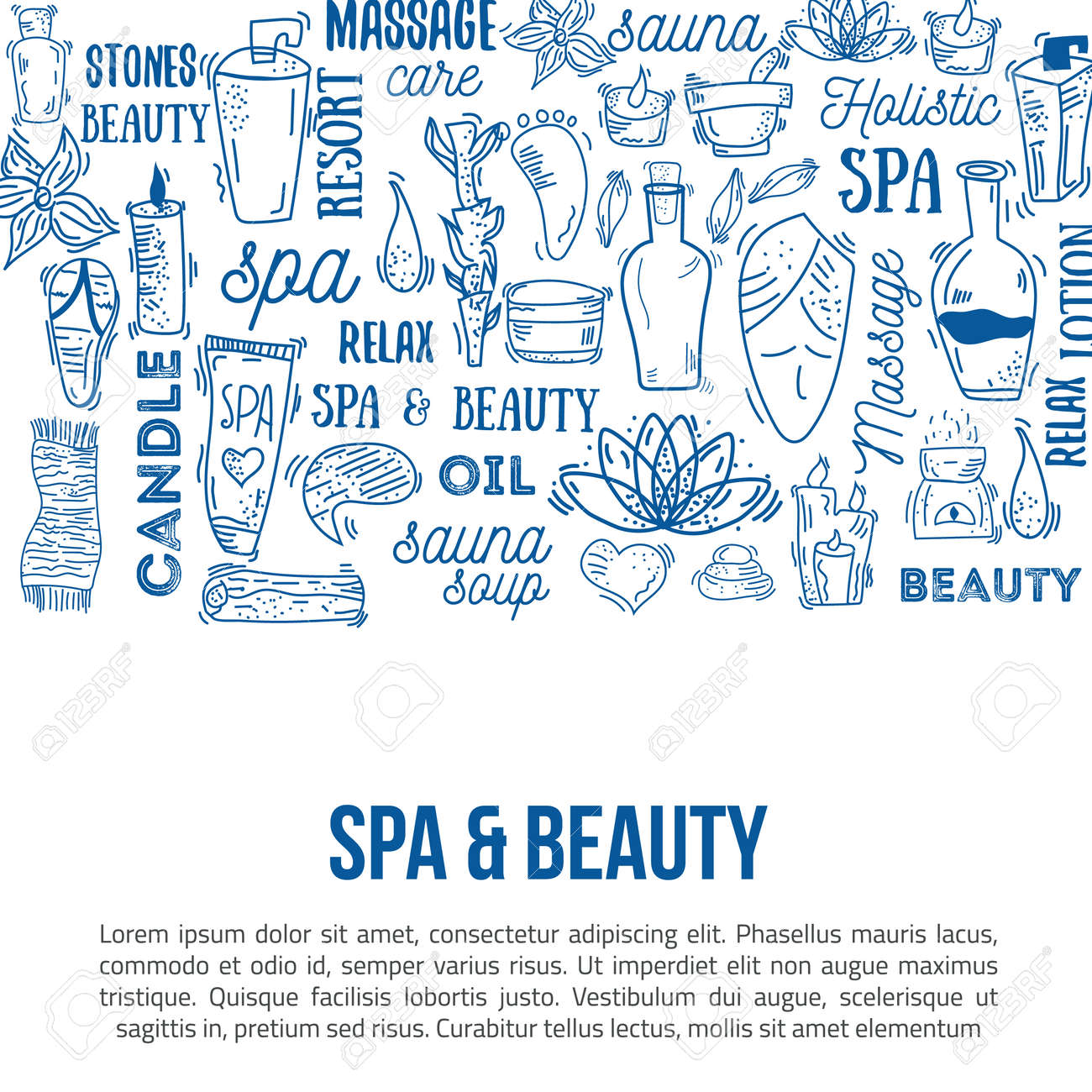 Vector Spa And Care Doodle Design Elements With Lettering Can