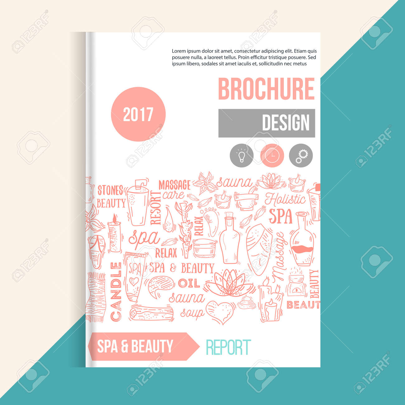Wellness Spa Brochure Template With Hand Drawn Lettering And ...