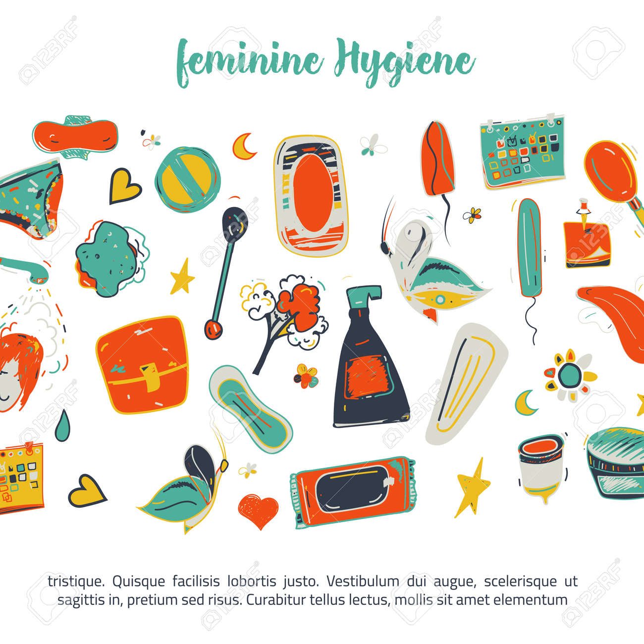 Sketch Colorful Feminine Hygiene Funny Banner Design With Tampon Royalty Free Cliparts Vectors And Stock Illustration Image 63393547