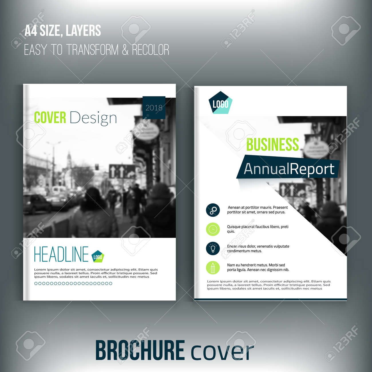 set of clean brochure cover templates with blured city landscape