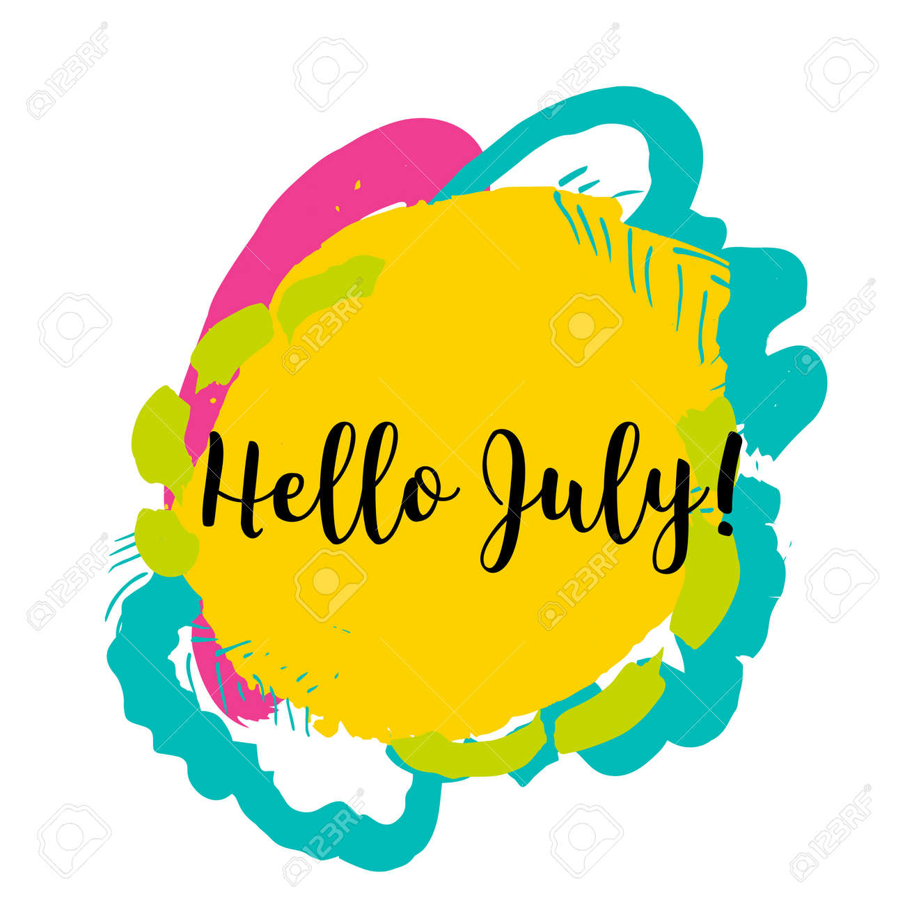 Hello July. Hand Drawn Design Isolated On Colorful Background. Concept  Image Poster For Wall