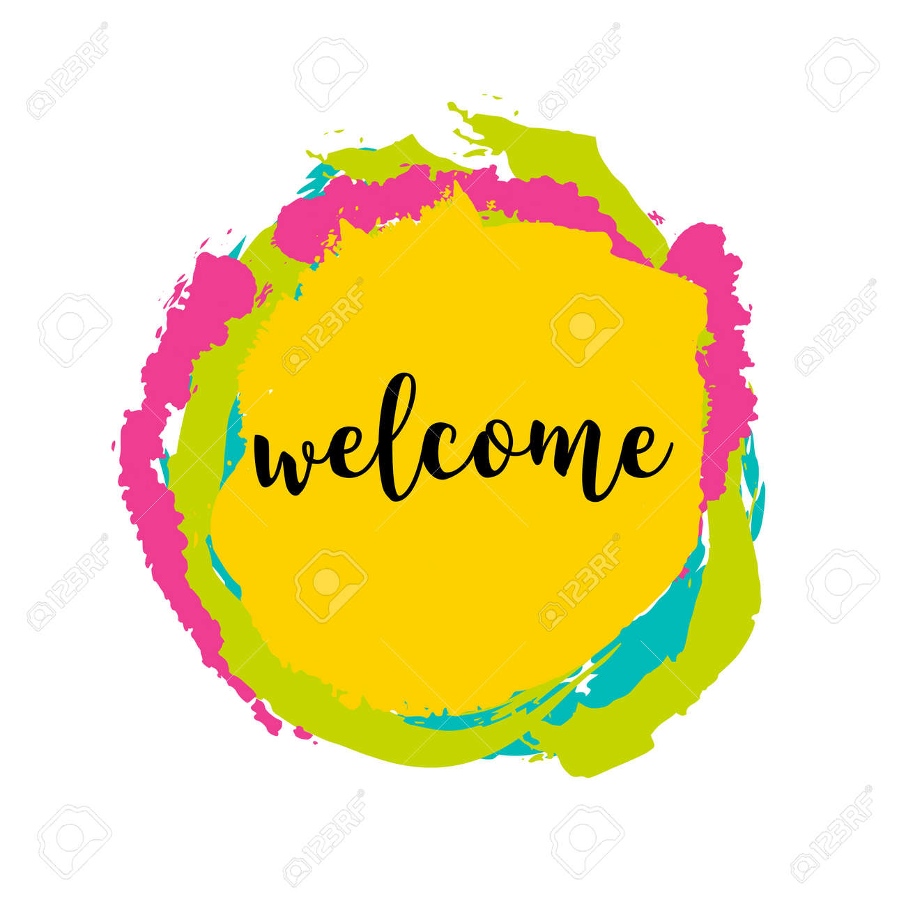 Typography Welcome Sign On Bright Background. Concept Image Poster ...