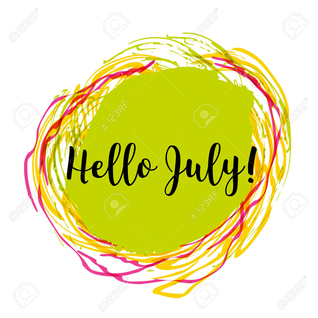 Hello July. Hand Drawn Design Isolated On Colorful Background ...