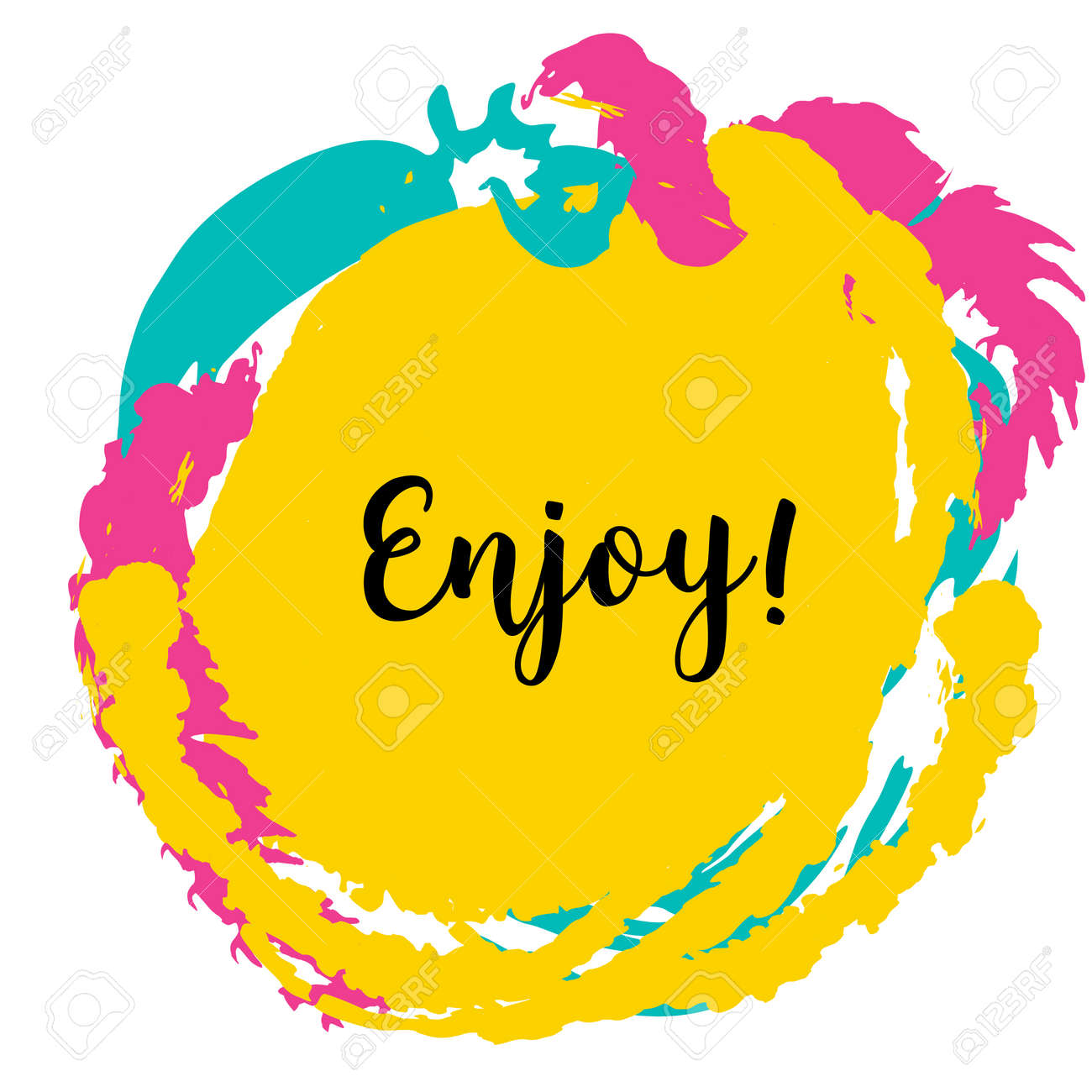 Enjoy. Modern Calligraphy Isolated On Colorful Background. Concept ...