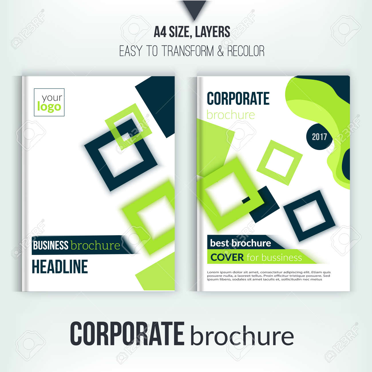brochure cover design template geometric square abstract flyer